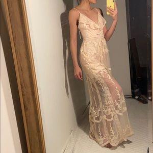 Blush lace maxi dress